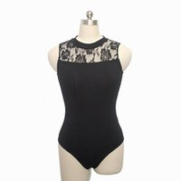 Wholesale Girls Black Lace Stockings - In stock Ladies Ballet Dance Leotards Black Cotton Lycra Lace Turtle-neck Tank Leotards with Open Back Girls Gymnastics Bodysuit