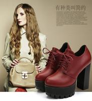 i̇ngiliz tarzı toptan satış-İngiltere Yeni stil bayan botları kısa çizmeler Moda çizmeler Platformu Yüksek Topuk çizmeler Dantel up Ayak Bileği çizmeler kadın Sonbahar ayakkabı # 2123