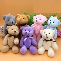 doldurulmuş oyuncak 13cm toptan satış-8 cm / 11 cm / 13 cm Seçim Için Çok Renkler-Peluş OYUNCAK Ortak Papyon Teddy Bear Peluş Dolması OYUNCAK Düğün Hediyesi Buket DOLL OYUNCAK