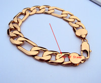 "Wholesale Thick 18k Gold Rings - Fashion type 18K Real Yellow Gold Stamp Filled Men's Bracelet 8.6"" Thick Chain Watch Link 220mm 22cm 100% real gold, not solid not money."