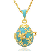 Wholesale Russian Eggs - Fleur De Lis flower Faberge Egg Pendant Easter Egg locket for Russian Style Necklace with Crystal