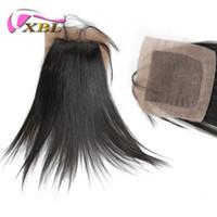 fermetures malaises base droite en soie achat en gros de-Base de soie droite fermeture 4 * 4 base de soie vierge cheveux humains, livraison gratuite indienne / brésilienne / malais / cheveux péruviens