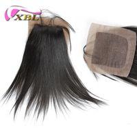 jungfrau malaysische gerade seidenverschluss großhandel-Gerade Silk Base Closure 4 * 4 Seide Basis reines Menschenhaar, kostenloser Versand indischen / brasilianischen / malaysischen / peruanischen Haar