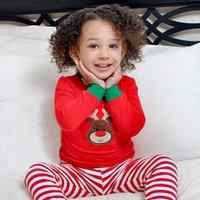 Wholesale Deer Jumpers - Christmas Childrens Sets Baby 2017 Striped Outfits Kids Deer Jumper T-shirts with Striped Pants Kids Autumn Pajamas