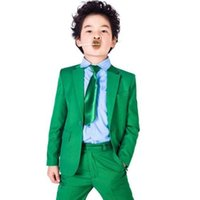Wholesale Tuxedo Party Suit - green boys suit Boys Suit Wedding Prom Formal Tuxedos Page Boy Custom Party Dinner Suit Bespoke