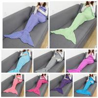 Wholesale Handmade Homes - 180*90cm adult Mermaid Blanket Sleeping Bag Adult Knitted Tail Blanket Handmade Crochet Mermaid Blanket Throw Bed Wrap Soft KKA3007