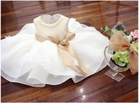 Wholesale Birthday Tutu Outfits For Girls - Champagne and White Flower Girls Wedding Dresses Princess Tutu Dresses For 1st birthday Party,Christening vestidos,Girl Wedding Outfit