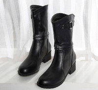 Wholesale Thick British Women - 2017 thick with the classic fashion Martin boots women British wind army boots tube in the leather horseshoe women boots plus size 35-40