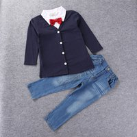 Wholesale Style Kids Outfits - European America style spring autumn boys outfits jacket +T-shirts +denimn jeans pant 3pcs boy's fashion set kids formal gentle suit