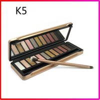 Wholesale Iron Free Shiping - Matte Eye Shadow Palette Makeup EyeShadow Palette 12 Color in Iron Box with Brush Free Shiping
