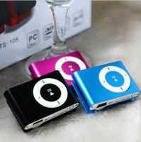 sd kart usb hediye toptan satış-Renkli MINI Klip MP3 Çalar Küçük klipler Müzik walkman Destek Micro SD Kart TF Yuvası Kulaklık Hediye Kutusu ile USB Kablosu ...