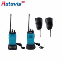 2x5W Walkie Talkie Retevis RT7 + Mini-Lautsprecher Mic16 CH UHF 400-470MHz Two Way FM Radio VOX Scan Walkie Talkie Blau RU Schiff
