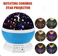 proyectores de luz de la habitación del bebé al por mayor-Habitación Novedad Noche Proyector de luz Lámpara Rotativa Intermitente Estrella estrellada Luna Cielo Estrella Proyector Niños Niños Bebé Abajur Infantil