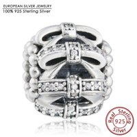 Natal Bow-nó Charme Beads 925 Sterling Silver Pave Clear CZ Shimmering Sentiments Bow Bead Diy Winter Bracelets Jóias