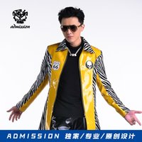 Wholesale Designer Blazers For Men - Wholesale-long yellow Blazer jacket costumes Designer Fashion Men Casual Wild Leopard Splicing Link Fence prom party for singer dancer