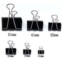 Wholesale Metal File Clips - 36 pieces Lot Black Metal Binder Clips 15 19 25 32 41 51mm Notes Letter Paper Clip Office Supplies Binding Securing clip Product