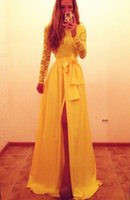 Wholesale Cute Lovely Images - Yellow Lace Lovely 2016 Long Prom Dresses with Bowknot Side Slit Long Sleeve Cute Evening Dresses Occasion Dresses Party Dresses