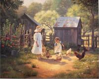 Wholesale farm figures for sale - Group buy Family Sisters farm Genuine Handpainted Portrait Animal landscape Art oil Painting On Canvas Museum Quality