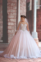 Wholesale Long Skirts Pink Corsets - Modest Wedding Dresses with Long Sleeves Bridal Ball Gowns Wedding Dresses Sheer Corset Beaded Cathedral Wedding Gowns with Crystals