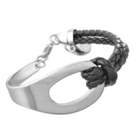 Wholesale Bracelet Half Beads - FUNIQUE 316L Stainless Steel Bracelets With Pendant And Black Leather Strap Fashion Men Bracelet Cool Half Cuff Bangle Jewelry