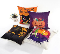 Wholesale Simple Linen Cushion Cover - Halloween series of pillowcase Simple fashion sofa cushion cover Flax digital printed Happy Halloween pillow case