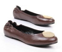 Famoso deslizamento Marca Moda On Ballet Flats preguiçosos Shoes Women Coffee couro de carneiro Genuine Shoes Sz 35-41