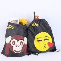 Wholesale 12 Drawstring Backpacks - Emoji Emoticon Drawstring Backpacks 40*35cm 3D Print Black Sackpack Sport Drawstring Storage Bags 12 Styles OOA3378
