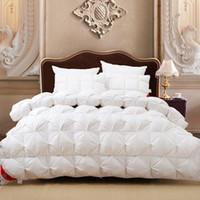 kral yatakları için battaniyeler toptan satış-Toptan Satış - Lüks 100% kaz tüyü beyaz ekose kral kraliçe veya 220 * 240 veya 200 * 230 yorgan çift kişilik yatak kış battaniye nobel yorgan seti