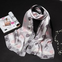 Wholesale Silk Scarf Hijabs - 175X65CM Camellia Print Lady Mulberry Silk Big Rectangle Scarf Floral-Print 100% Pure Silk Pashmina Shawl Wraps Fashion Hijabs Capes