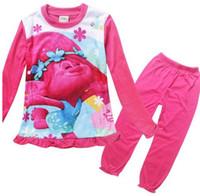 Wholesale Kid Underwear Cartoon Characters - 2017 New Children's Spring Autumn Long Sleeve Cartoon Trolls Pajamas Girls Sleepwear Homewear Clothing Sets Robe Kids Underwear