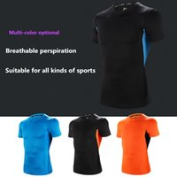 Wholesale Stretch Sport T Shirts - Sports fitness breathable perspiration stretch Slim short sleeve T-shirt male summer tights fitness uniforms
