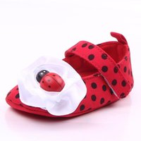 Wholesale Hook Loop Dots - New Cute Baby Girl Shoes Red Cotton Fabric Lovely Ladybug Big Bowknot Soft Sole With Butterfly Print Anti-slip Dress Shoes