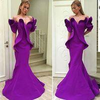 Wholesale Embroidery Taffeta Chiffon - 2016 Purple Organza Stain Dubai Arabic Off-shoulder Mermaid Dresses Party Evening Wear Ruffles Trumpet Backless Occasion Prom Dress