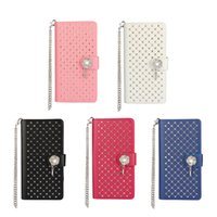 Wholesale Galaxy S3 Bling Wallet Case - Diamond Bling Case for Huawei P8lite LG G5 Galaxy S3 S4 With Fashion Chain Wallet Flip Leather Cover Stand for Galaxy A3 A5
