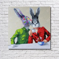 Wholesale images abstract - Free Shipping Hand made Modern Rabbit Image Oil Painting Wall Art Decorative Living Room Wall Pictures Animal Oil Painting