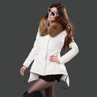 weiße echte pelzbesatz großhandel-Winter Jacken für Frauen White Duck Down Fashion Brand Coats Echtes Fell Trim Hood Down Kleid