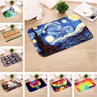 Flannel Carpets painting carpets - 40 cm Flannel Carpets Van Gogh Star Oil Painting Series Bedroom Living room Kitchen Balcony Corridor Soft Non Slip Mat Carpet WX P27