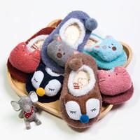 Wholesale Kids Slippers Wholesale - Kids Baby Socks 3D Infant Korean Non Slip Fox Bear Cat Boys Girls Pink Blue Toddler Newborn Children Slippers Cute