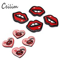 Wholesale Cheap Lip Jewelry - Wholesale Red Lips Acrylic Scrapbook Paste Accessories Cute Funny Patches Graffiti Cartoon Fashion Brooch & Phone DIY Simple Cheap Jewelry