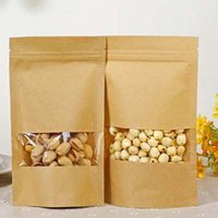 Wholesale Windows Chocolate - 50pcs lot Resealable Stand up Kraft Bags Ziplock Gift Bag Retail Packaging For Chocolate Candy Paper Clear Window Filing Supplies