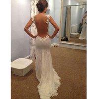 Wholesale Mermaid Celebrity Wedding Gown - 2016 Elegant Sheer Back Dress Mermaid Wedding Dresses Transparent Big Open Back Court Train Celebrity Dresses Bridal Gowns New Hot Sale