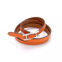 lettre de ceinture masculine achat en gros de-2017 Bijoux en gros H boucle de ceinture, bracelet en cuir trois couches, bracelet Kell, lettre H en cuir, Bracelet pour hommes et femmes