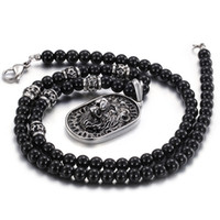 Wholesale Large Lion - Brand New Charming Good Jewelry Biker 316L Stainless Steel Large Dog Tag Lion Head Necklace Pendant Black Ball Chain 28''