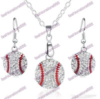 Wholesale balls for earrings - Crystal Baseball Pendant Earrings Necklace Jewelry Sets Fashion Sports Jewelry Best Friend Gift For Team Club Base Ball Lovers