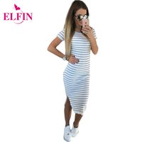 Wholesale Short Slim Fit Dresses - Casual Summer Women Dress Short Sleeve Round Neck Slim Fit Bodycon Dress Striped Side Split T Shirt Womens Dresses LJ3904R