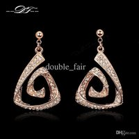 Wholesale Vintage Rose Flower Earrings - Unique CZ Diaond Vintage Dangle Earrings 18K Rose Gold Plated Fashion Brand Punk Jewelry For Women Wholesale DFE211
