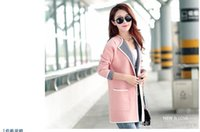 Wholesale Polka Dot Cable - Wholesale-2017 Fashion Winter Sweater Women Thick Cable Knit Long Cardigan Women Poncho Coat Pink Sweater Women
