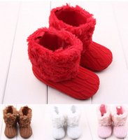 Wholesale Snow Rubber Shoes Sole - Newborn Baby Christmas boots Soft Fur lace-up Shoes Infant Toddler kids soft Soled Boots babies knitting warm snow boots Kids shoes 6144