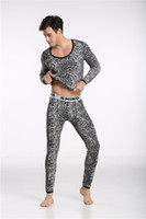 Wholesale Men Leopard Sleepwear - Wholesale-Shino Cotton Men Thermal Set Underwear Wild Leopard Print Suit Keep Warming Long Johns Pants Long Shirt Winter Sleepwear M-XL
