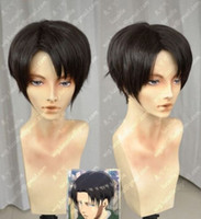 Wholesale Rivaille Wig - 100% free shipping New High Quality Fashion Picture full lace wigs>>Attack On Titan Shingeki no Kyojin Rivaille Short Black Cosplay Wig 001Z